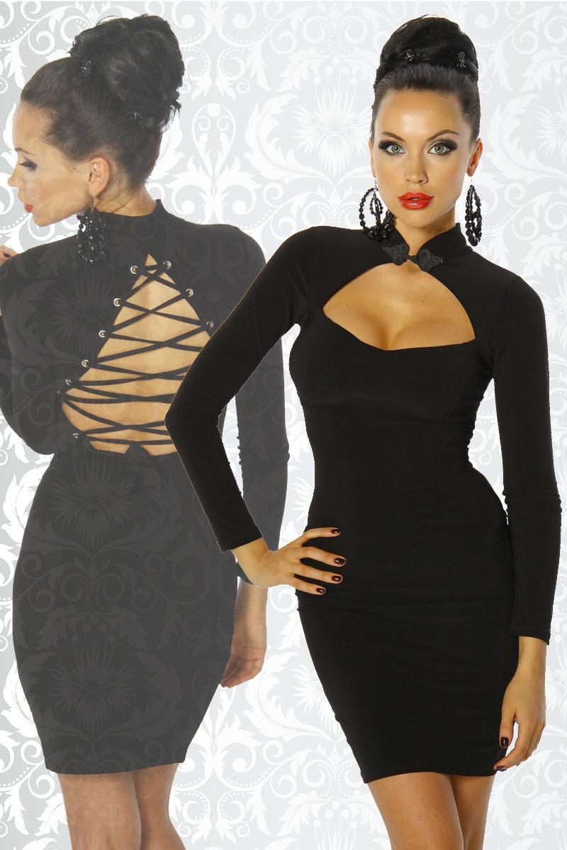 Image of Kleid mit Schnürung, langarm, Schwarz-XL