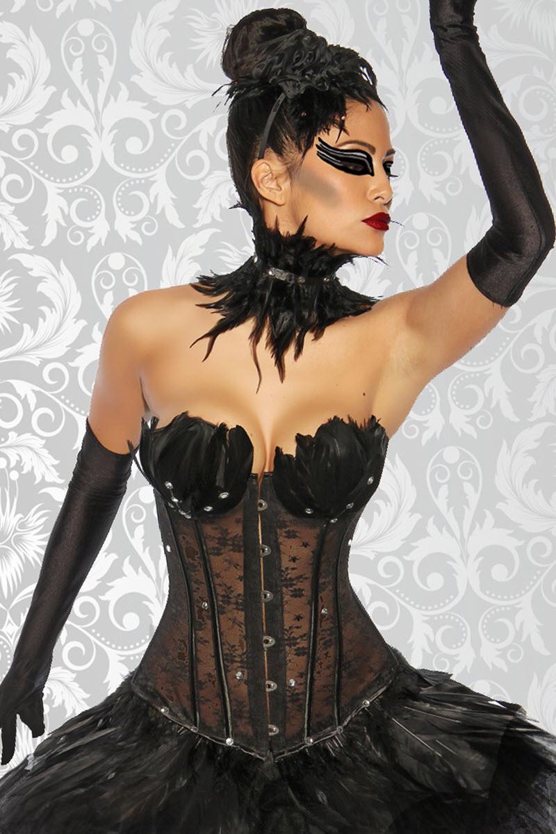 Image of Black Swan Corsage-L