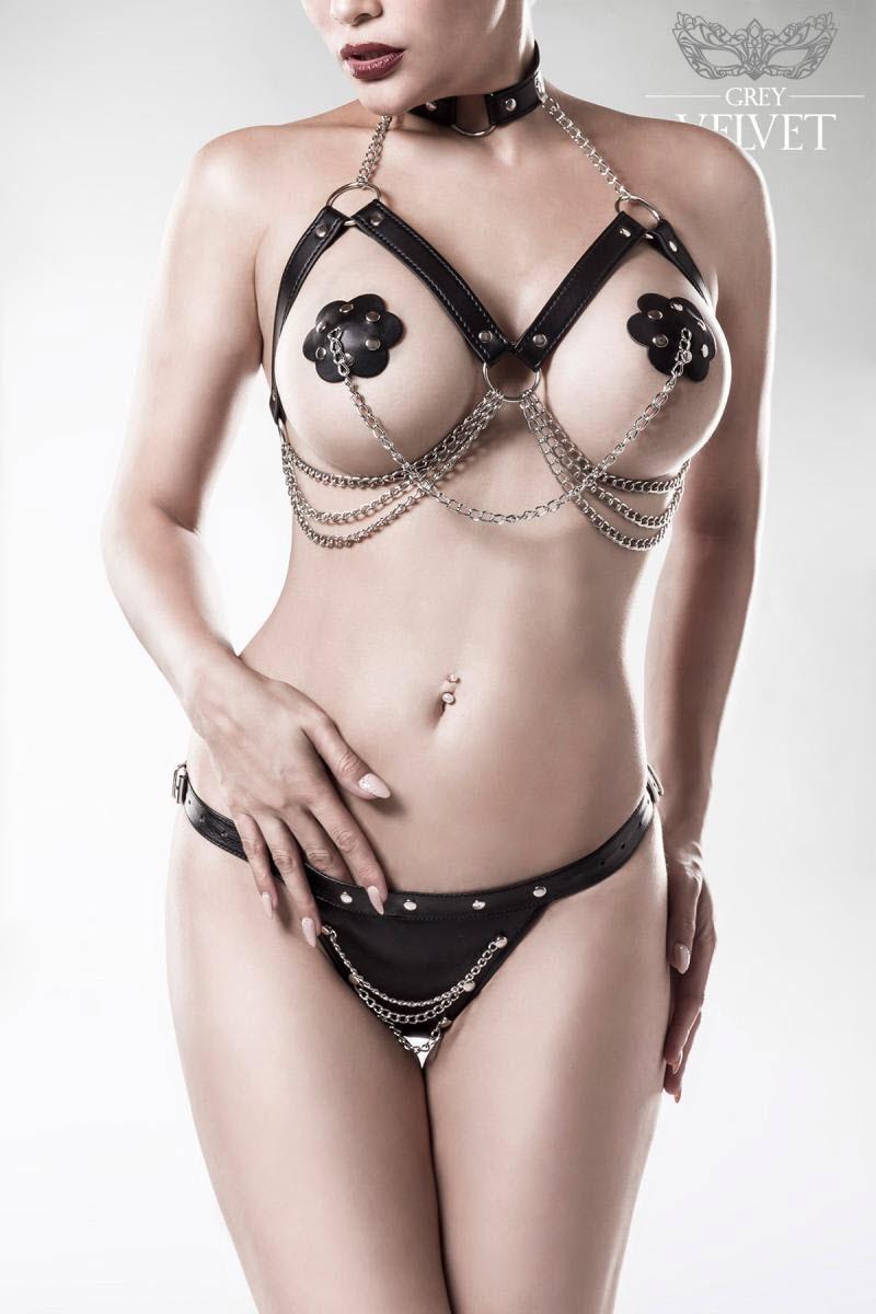 Image of 3-teiliges Erotikset, GREY VELVET, Schwarz-Queen Size (XL/3XL)