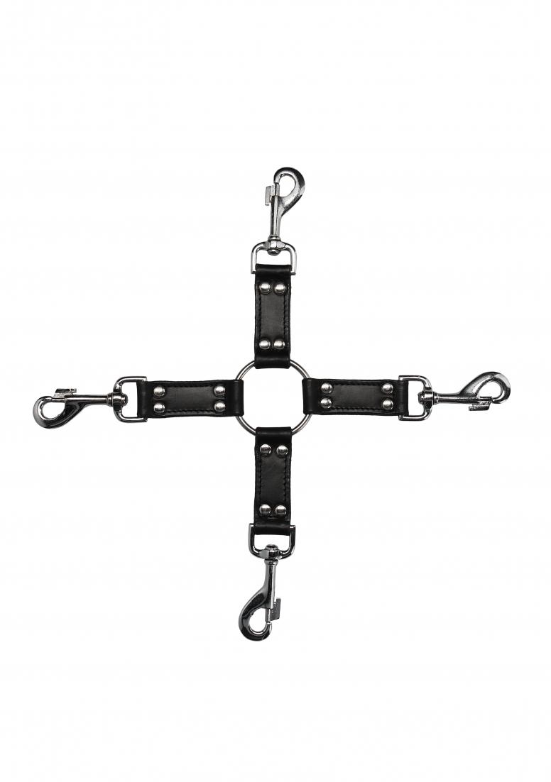 Image of 4-Weg Leder Fessel-Kreuz, OUCH! PAIN, Schwarz