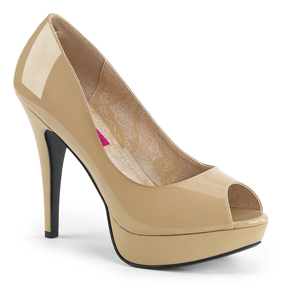 Image of Peep-Toe Pumps, CHLOE-01, Lack, Beige-15