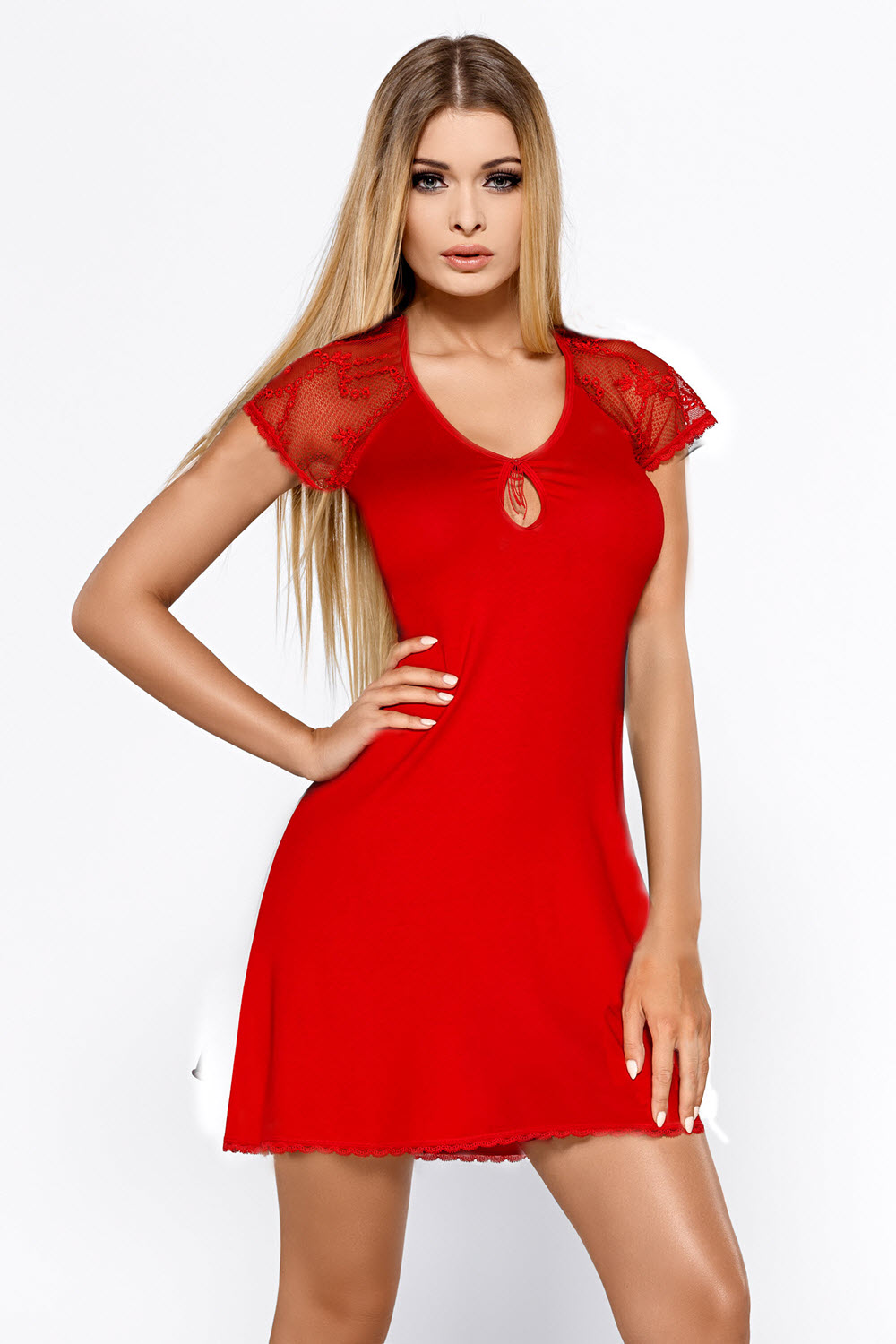 Image of Nachtkleid, HILLARY, Rot-L