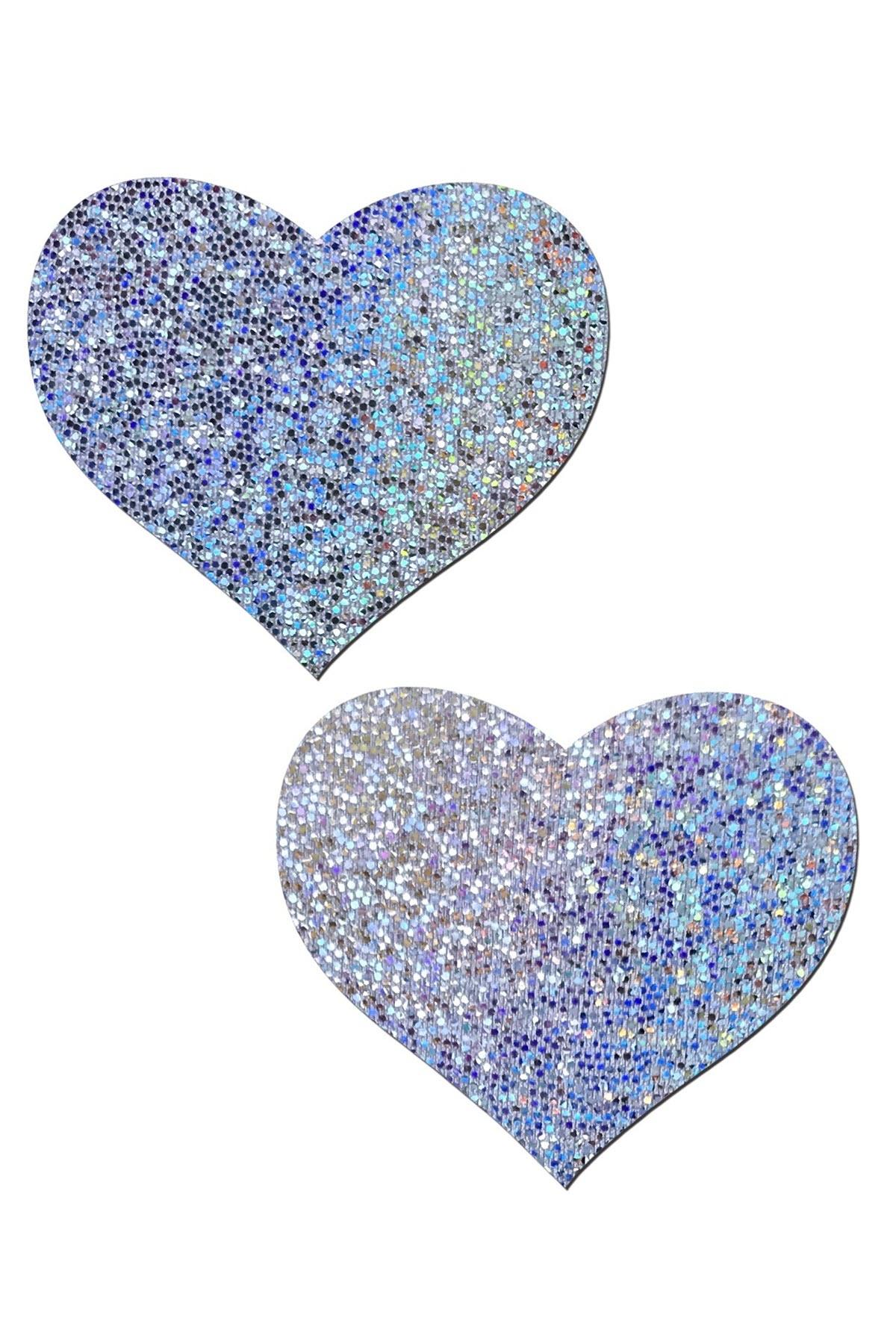 Image of Herz Nippelkleber, Glitter Silber