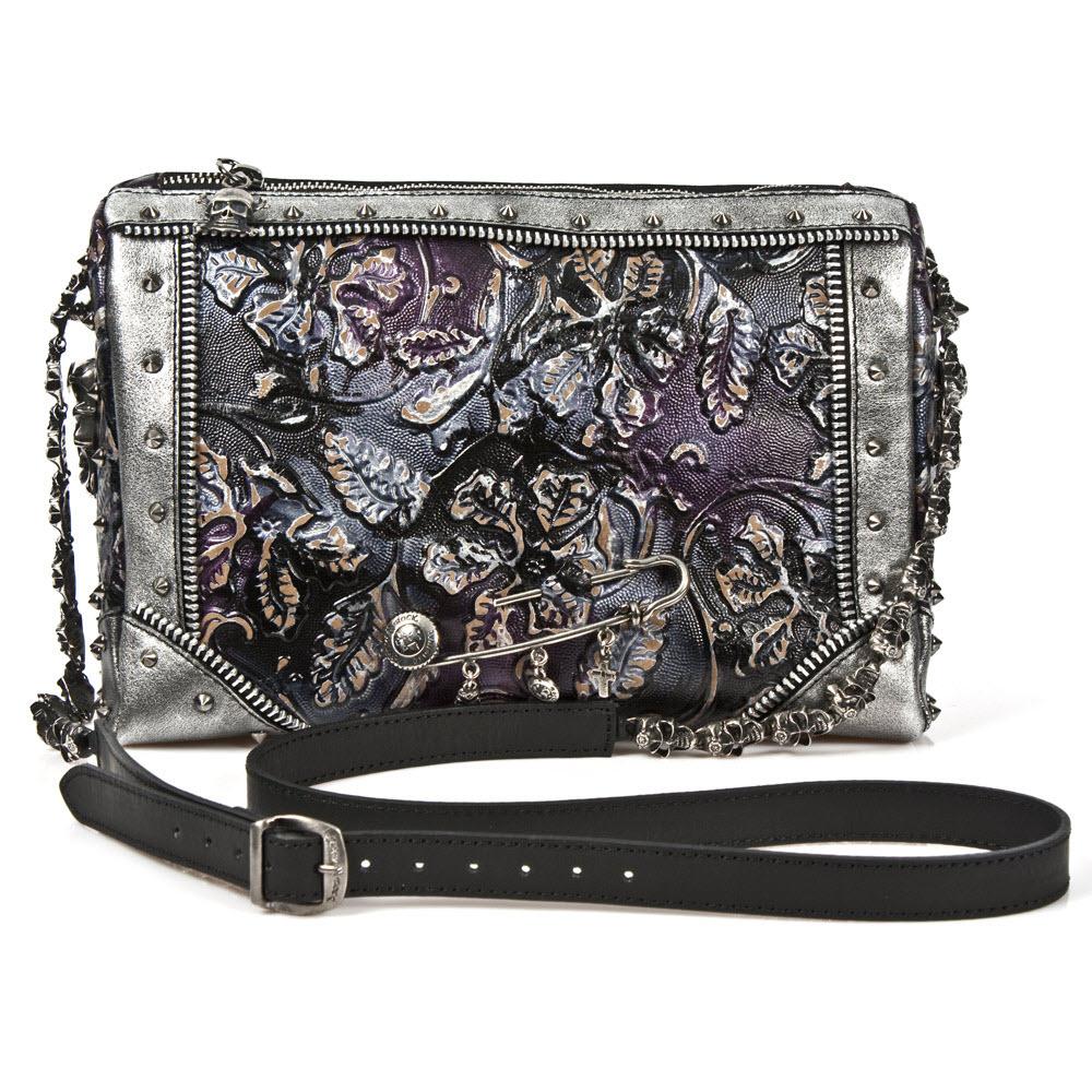Image of Handtasche, New Rock M.BAG046-C2 , Leder, Lila/Silber